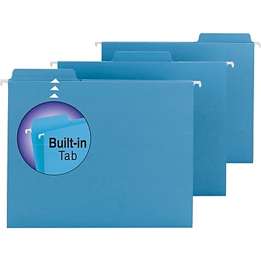Smead® FasTab™ Hanging File Folders, Letter, 3 Tab, Blue, 20/Box