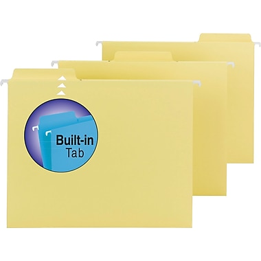 Smead® FasTab™ Hanging File Folders, Letter, 3 Tab, Yellow, 20/Box