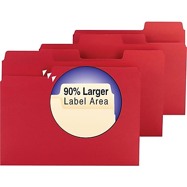 Smead® SuperTab Colored File Folders, Letter, 3 Tab, Red, 100/Box