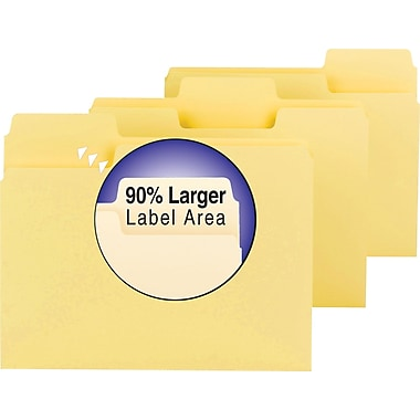 Smead® SuperTab Colored File Folders, Letter, 3 Tab, Yellow, 100/Box
