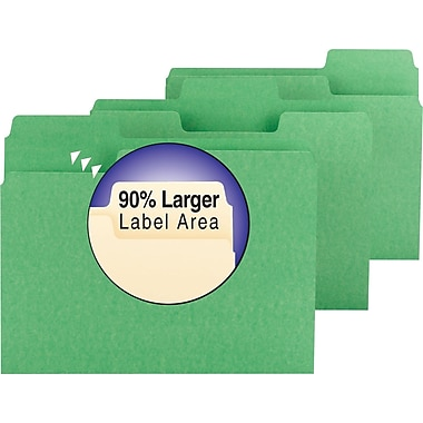 Smead® SuperTab Colored File Folders, Letter, 3 Tab, Green, 100/Box