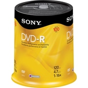 Sony 100/Pack 4.7GB DVD-R, Spindle
