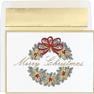 Great Papers® Wreath Holiday Cards with White Gold Foil Envelopes