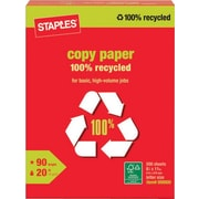 Staples® 100% Recycled Copy Paper, 8 1/2 x 11, Ream