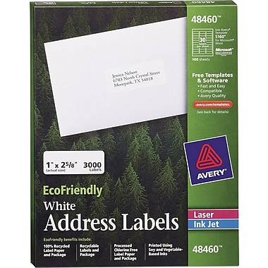 Avery® 48460 EcoFriendly White Inkjet/Laser Address Labels, 1in. x 2-5/8in., 3,000/Box