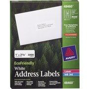 Avery® 48460 EcoFriendly White Inkjet/Laser Address Labels, 1 x 2-5/8, 3,000/Box
