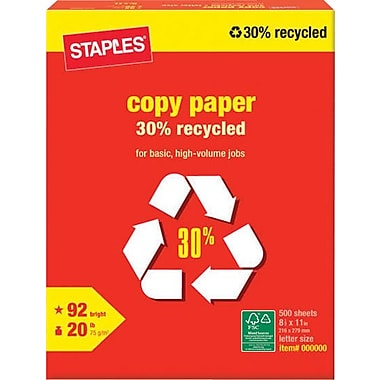 Staples 30% Recycled Copy Paper, 8 1/2
