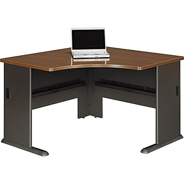 Bush® Cubix 48in. Corner Desk, Cappuccino Cherry/Hazelnut Brown