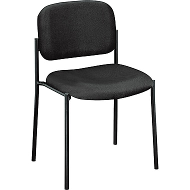 basyx by HON Fabric Armless Stacking Guest Chair, Black