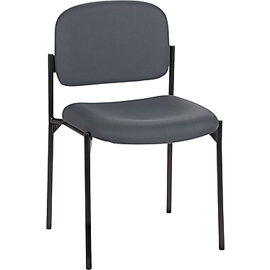basyx by HON Fabric Armless Stacking Guest Chair, Charcoal Gray