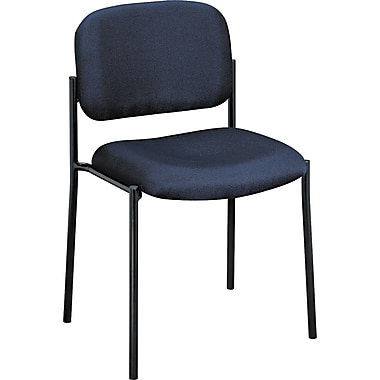 basyx by HON Fabric Armless Stacking Guest Armless Chair, Navy