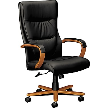 DBM Basyx™ VL844 Series Leather Executive High Back Swivel/Tilt Chairs with Wood Trim