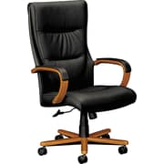 basyx by HON® BSXVL844HSP11 VL844 Leather Executive High-Back Chair with Fixed Arms, Black/Bourbon Cherry