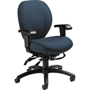 Global Mallorca Series Fabric Mid Back Multi-Tilter Swivel Chair, Atmosphere Blue