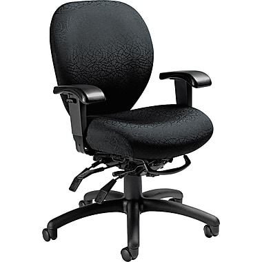 Global Mallorca Series Fabric Mid Back Multi-Tilter Swivel Chair, Midnight Black