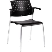 Global Sonic Series Molded Polypropylene Stacking Arm Chair 2 Pack, Black