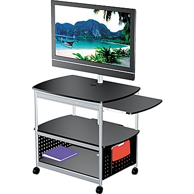 Safco Scoot Open Flat Panel Mobile Multimedia Cart, Black