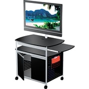 Safco Scoot Open Flat Panel Mobile Multimedia Cart w/Cabinet, Black