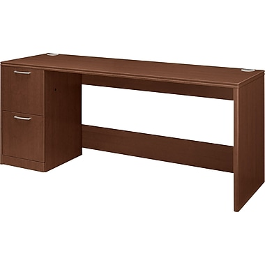 Hon®  Attune Series 72in. Left Single Pedestal Credenza, Shaker Cherry