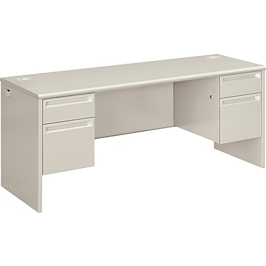 HON 38000 72in. Double Pedestal Credenza, Light Gray/Light Gray