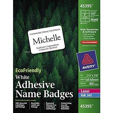 Avery® EcoFriendly White Multipurpose Name Badge Labels, 2 1/3in. x 3 3/8in.