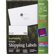 Avery® 48163 EcoFriendly White Inkjet/Laser Shipping Labels, 2 x 4, 1,000/Box