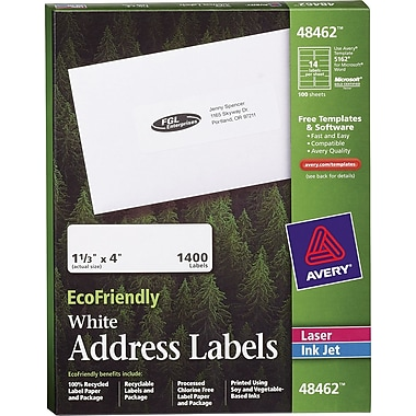 Avery® EcoFriendly Inkjet/Laser Mailing Labels