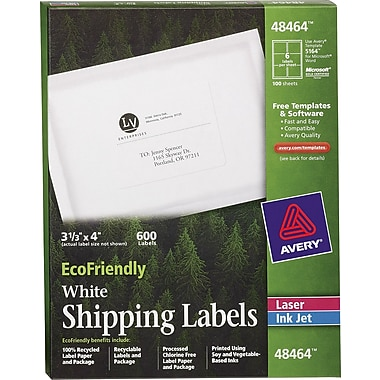 Avery® 48464 EcoFriendly White Inkjet/Laser Shipping Labels, 3-1/3in. x 4in., 600/Box