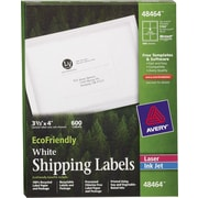 "Avery® 48464 EcoFriendly White Inkjet/Laser Shipping Labels, 3-1/3"" x 4"", 600/Box"