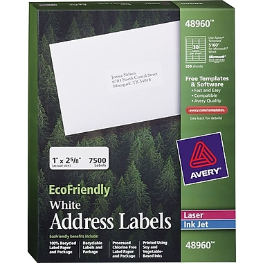 Avery® 48960 EcoFriendly White Inkjet/Laser Address Labels 1in. x 2-5/8in., 7,500/Box