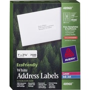 "Avery® 48960 EcoFriendly White Inkjet/Laser Address Labels 1"" x 2-5/8"", 7,500/Box"