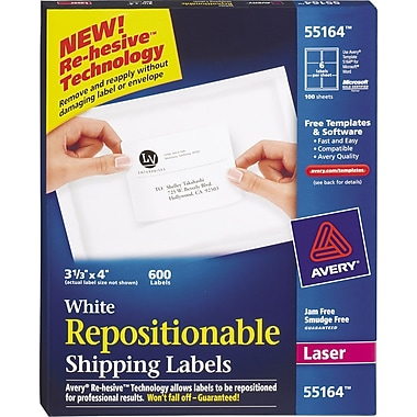 Avery® 55164 Repositionable White Laser Shipping Labels 3-1/3in. x 4in., 600/Box