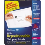 Avery® 55164 Repositionable White Laser Shipping Labels 3-1/3 x 4, 600/Box