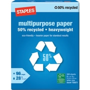 Staples® 50% Recycled Heavyweight Multipurpose Paper, Ream