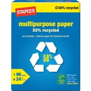 Staples® 50% Recycled Multipurpose Paper, 8 1/2 x 11, Ream