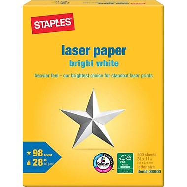Staples® Bright White Laser Paper, 8 1/2in. x 11in., Ream