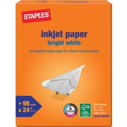 "Staples Inkjet Paper, 8 1/2"" x 11"", Bright White, Ream"