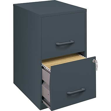 Office Designs Vertical File Cabinet, 18in. Deep 2-Drawer, Letter Size, Graphite