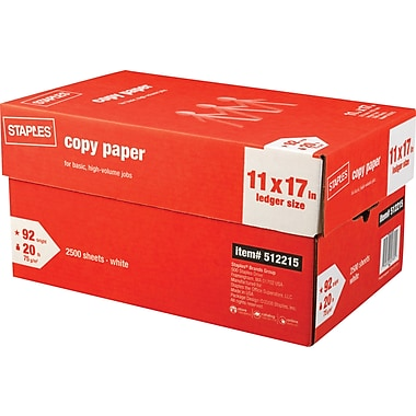 Staples® Copy Paper, 11in. x 17in., Case