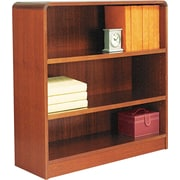 Alera 3-Shelf Radius Corner Wood Veneer   Bookcase, Medium Cherry