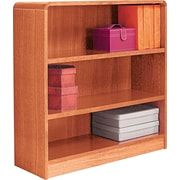 Alera 3-Shelf Radius Corner Wood Veneer Bookcase, Medium Oak