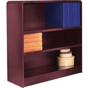 Alera 3-Shelf Radius Corner Wood Veneer Bookcase, Mahogany