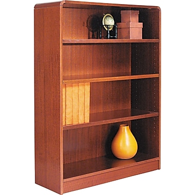Alera 4-Shelf Radius Corner Wood Veneer  Bookcase, Medium Cherry