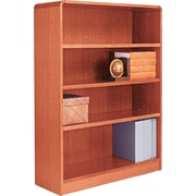 Alera 4-Shelf Radius Corner Wood Veneer Bookcase, Medium Oak
