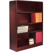 Alera 4-Shelf Radius Corner Wood Veneer  Bookcase, Mahogany