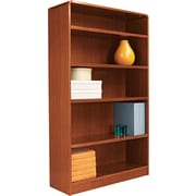 Alera 5-Shelf Radius Corner Wood Veneer  Bookcase, Medium Cherry