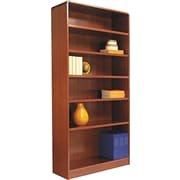 Alera 6-Shelf Radius Corner Wood Veneer Bookcase, Medium Cherry
