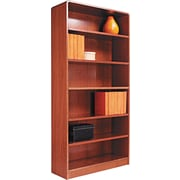 Alera 6-Shelf Radius Corner Wood Veneer  Bookcase, Medium Oak