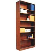 Alera 7-Shelf Radius Corner Wood Veneer Bookcase, Medium Cherry