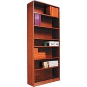 Alera 7-Shelf Radius Corner Wood Veneer  Bookcase, Medium Oak